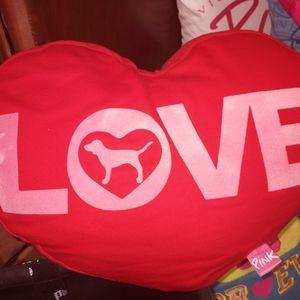 Vs pink heart pillow